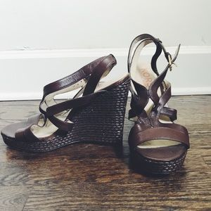 Michael Kors Shoes - Michael Kors Brown Strappy Wedges